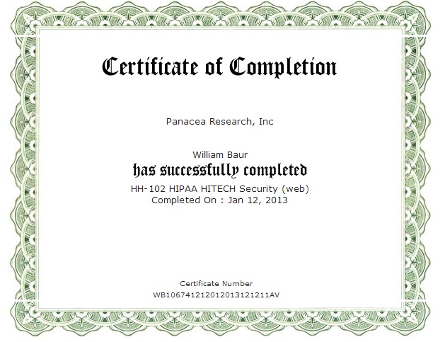 hipaa training certificate template - hipaa certificate template 28 images certificates